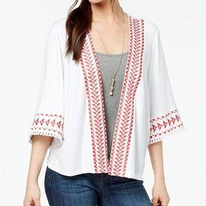 Style and Co Embroidered Fringed Kimono Jacket NWT